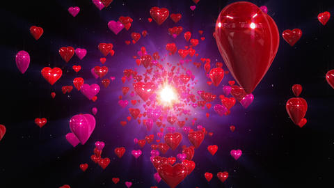 Flight hearts loopable background Animation