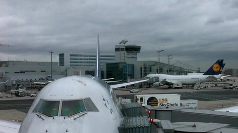 Frankfurt Airport Germany 04 jumbo jets Stock Video Footage