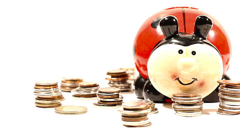 Ladybug Money Box and Coins 02 DOLLY right Stock Video Footage