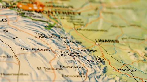 Monterrey and Northern Mexico on Map DOLLY Stock Video Footage