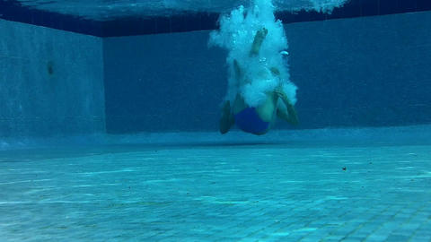 Outdoor Swimming Pool Jumping In Underwater Shot 01 Footage
