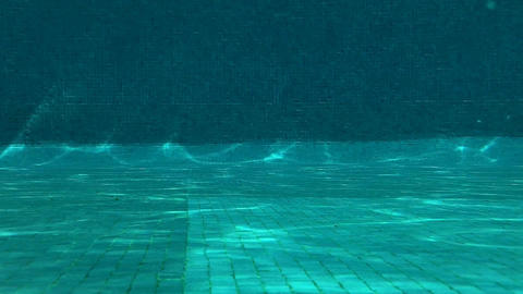 Outdoor Swimming Pool Jumping In Underwater Shot 03 Stock Video Footage