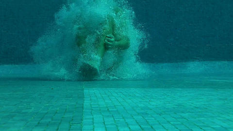 Outdoor Swimming Pool Jumping In Underwater Shot 03 Footage