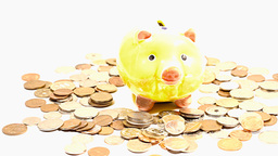 Pig Money Box and Coins 06 DOLLY Stock Video Footage