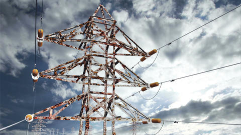 Rusty Electric Poles Timelapse 02 Stock Video Footage
