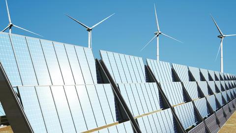 Solar Panels and Wind Turbines 03 loop Stock Video Footage