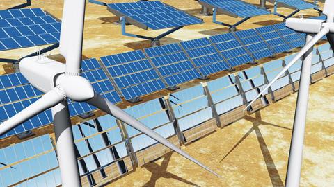 Solar Panels and Wind Turbines 07 Stock Video Footage