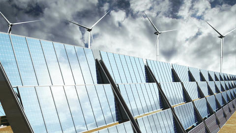 Solar Panels and Wind Turbines Clouds Timelapse 06 Stock Video Footage