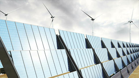 Solar Panels and Wind Turbines Clouds Timelapse 08 Stock Video Footage