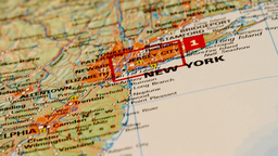 USA East Coast and New York on Map DOLLY Stock Video Footage