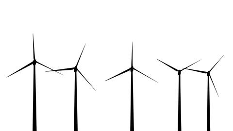 Wind Turbines Silhouette 01 loop Stock Video Footage