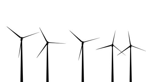 Wind Turbines Silhouette 01 loop Animation