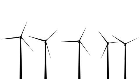 Wind Turbines Silhouette 01 loop Stock Video Footage