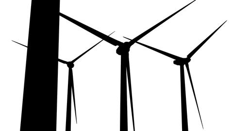 Wind Turbines Silhouette 05 loop Stock Video Footage