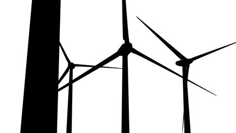 Wind Turbines Silhouette 05 loop Animation