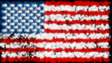 Loopable glittering and sparkling USA flag Animation