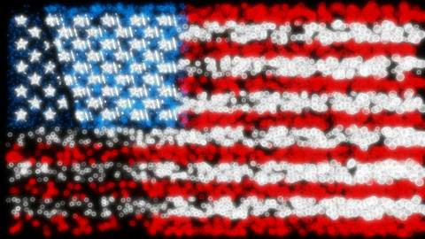 Loopable glittering and sparkling USA flag Stock Video Footage