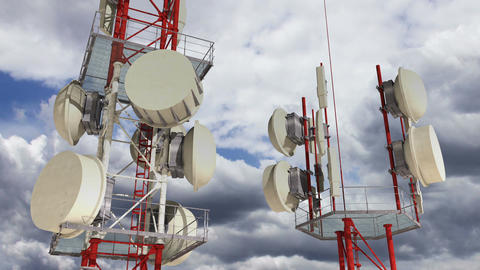 Antennas Clouds Timelapse 01 Stock Video Footage
