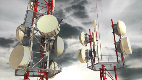 Antennas Clouds Timelapse 03 Stock Video Footage