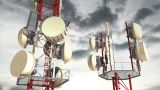 Antennas Clouds Timelapse 03 stock footage