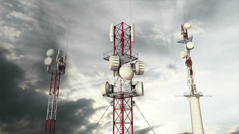 Antennas Clouds Timelapse 11 Stock Video Footage