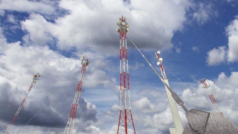 Antennas Clouds Timelapse 13 Stock Video Footage