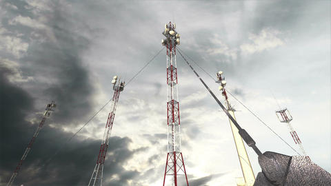 Antennas Clouds Timelapse 15 Stock Video Footage