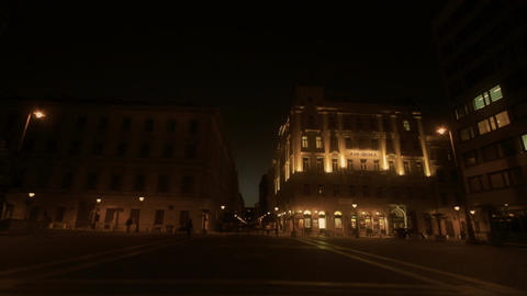 European Square At Night Stock Video Footage