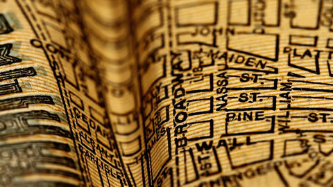 Exclusive New York Map from 1903 11 focusing on Broadway Stock Video Footage