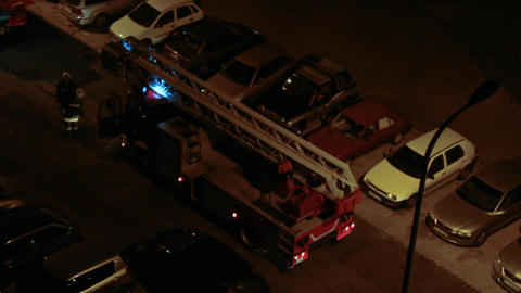 Fire Truck at night 02 Stock Video Footage