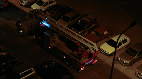 Fire Truck at night 02 Footage