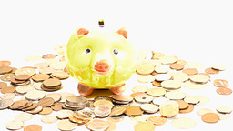 Pig Money Box and Coins TILTs Stock Video Footage