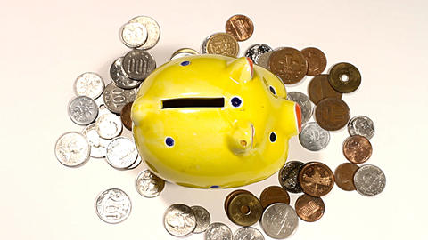 Putting Money into Pig Money Box and Coins 01 Footage