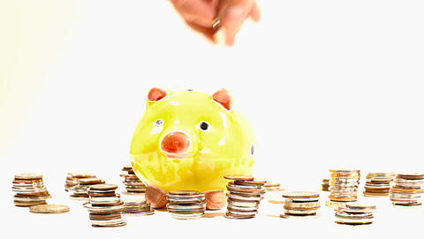 Putting Money into Pig Money Box and Coins 03 Footage