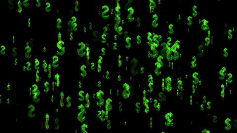 3D Dollar Loop 01 alpha Stock Video Footage