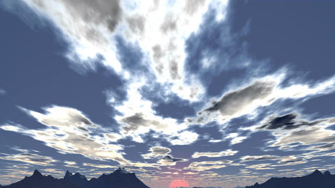 Clouds float towards the setting sun Animation
