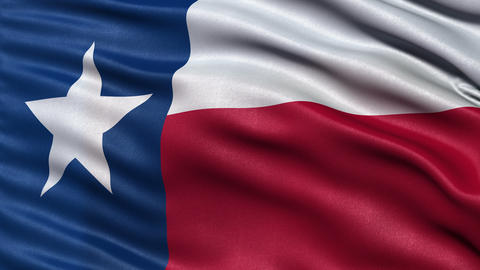 4K Realistic Texas state flag seamless loop Animation