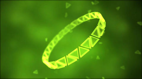 Rotating Ring of Triangles Animation - Loop Green Animation