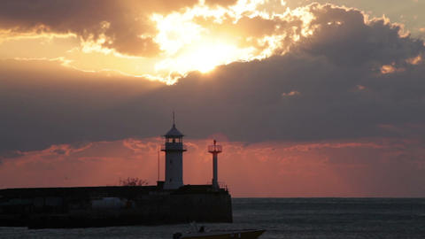 Beacon In Yalta At Sunrise, A View From The Central City Embankment, Crimea stock footage