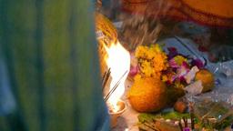 4K Ultra HD video of devotees preparing milk pots and garlands on Thaipusam day Footage