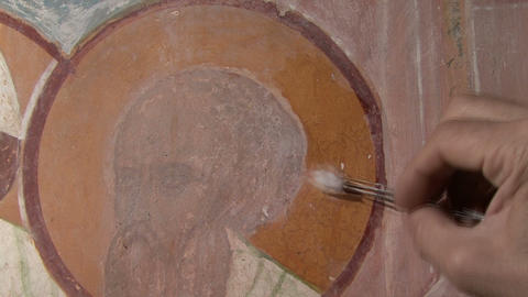 Mural Restoration stock footage