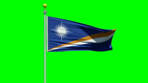 Waving Flag of the Marshall Islands on green screen Animation