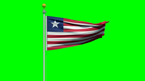 Waving Liberian flag on a green screen Animation