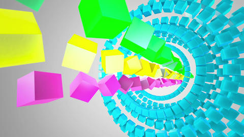 Colored Cubes at white background Stock Video Footage