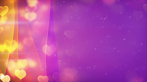 hearts bokeh lights and curved lines loopable background Animation