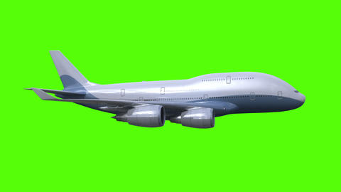 The airplane flies on green background Animation