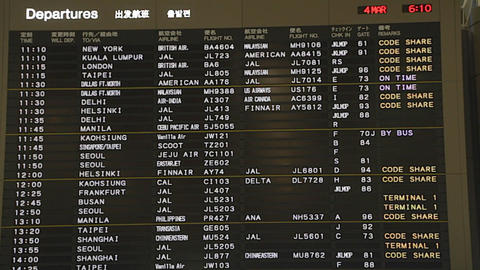 close-up of departures board - Narita airport Footage