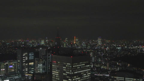 Wide Evening - Shinjuku skyline Tokyo Tower Roppongi with zoom Footage