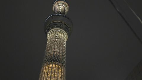 Tokyo Sky tree building - Asahi building - night Live Action