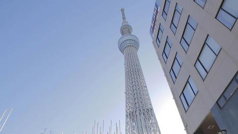 Tokyo Sky tree building - Asahi building - sunny dolly Footage